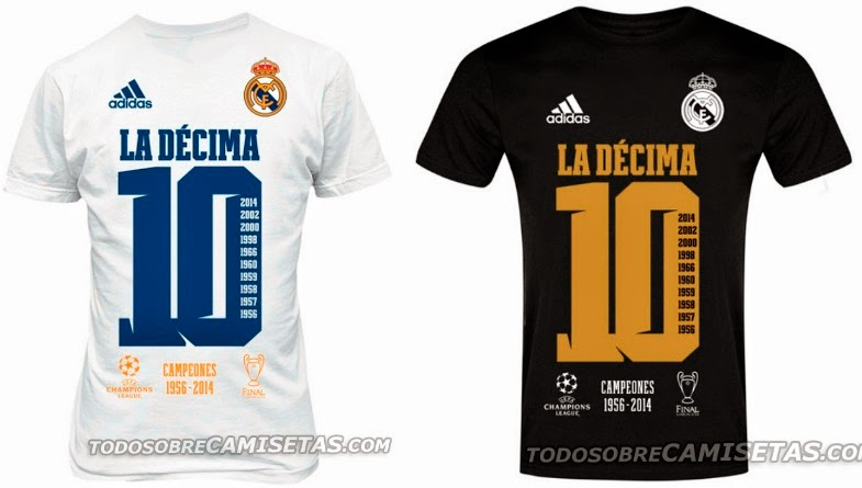 """3ccec39fc ... T-shirts"""" with big 10 number on the front comes in white and black  colour while there is normal real madrid match shirts with La decima text  and 10 ..."""