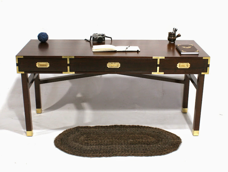 brass and mahogany custom desk