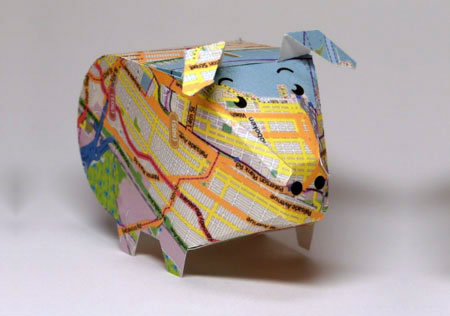 Street Map Piggy Bank Paper Toy