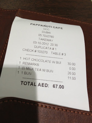 PappaRoti cafe bill