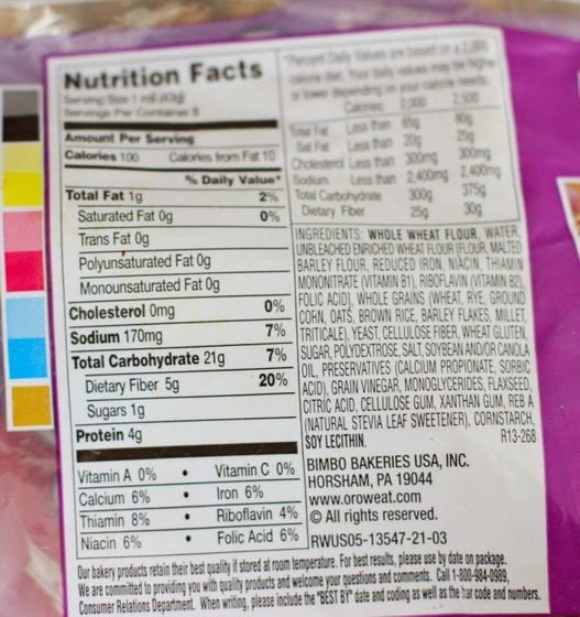 photo of the nutrition label