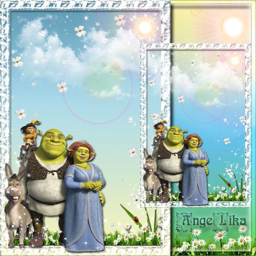 Детская рамка для фото с героями мультфильмов - Шрек и компания