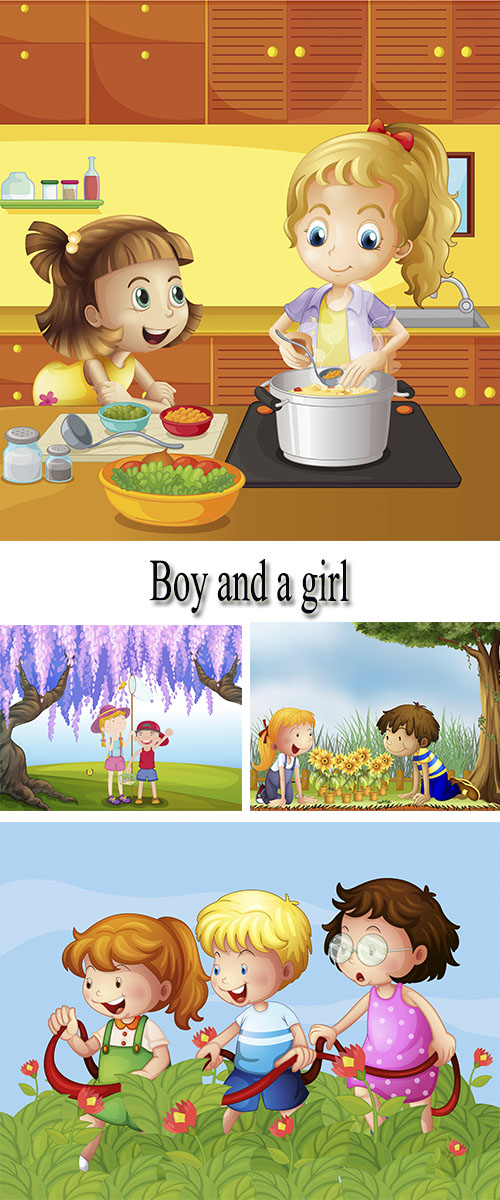 Stock: Boy and girl outdoors, drawing 10