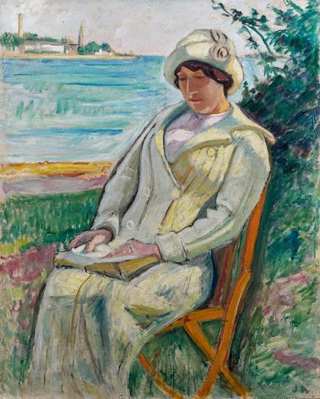 Jean Puy - Jeune femme lisant au bord de l'Odet, 1912