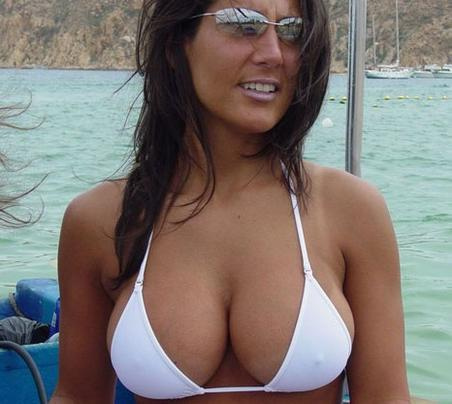 Big Cleavage Little Nipples White Bikini Top