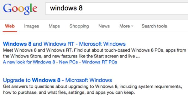 Google Websuche ohne URL