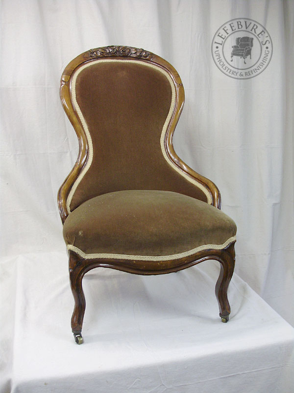 The brown velvet was old, but not original. - Lefebvre's Upholstery: Antique Victorian Slipper Chair - Red Toile