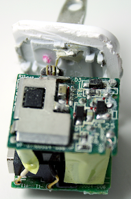 The circuitry inside the Apple iPhone USB charger