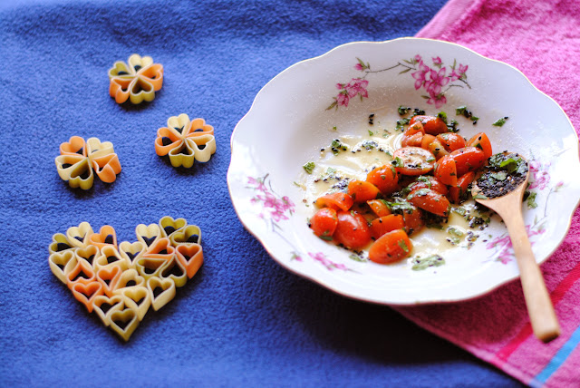 warm honey heart pasta salad recipe with strawberry grape avocado cilantro by ServicefromHeart