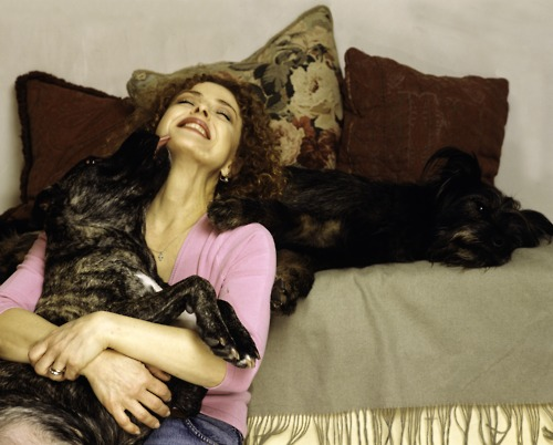 Bernadette Peters and two of her dogs