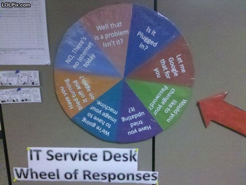 photo of a spinning wheel of choices for an IT person to say