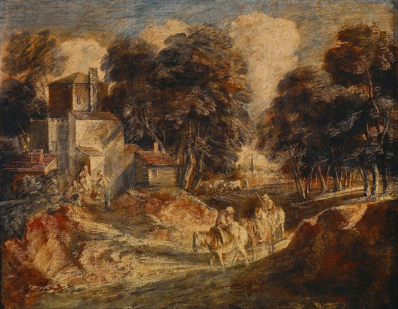 Thomas Gainsborough - Wooded Landscape with Mounted Peasants