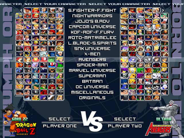 Mugen Multiverse - Cross generation of fighters. MvDvSvC evolution. Mugen000
