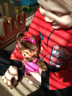 Monchhichi chicaboo mother care pink being played with by Blake Preston Clement