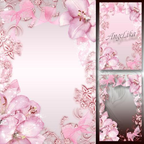 Нежная цветочная рамка для фото - Розовое сияние лилий