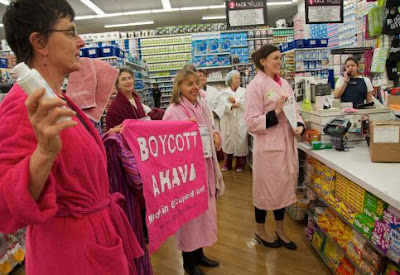 Boycott activists protest the sale of Ahava products at a US store. Photo -Steve Rhodes