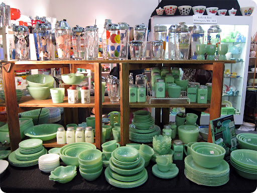 Piles of Fire King Anchor Hocking Jadeite dinnerware.