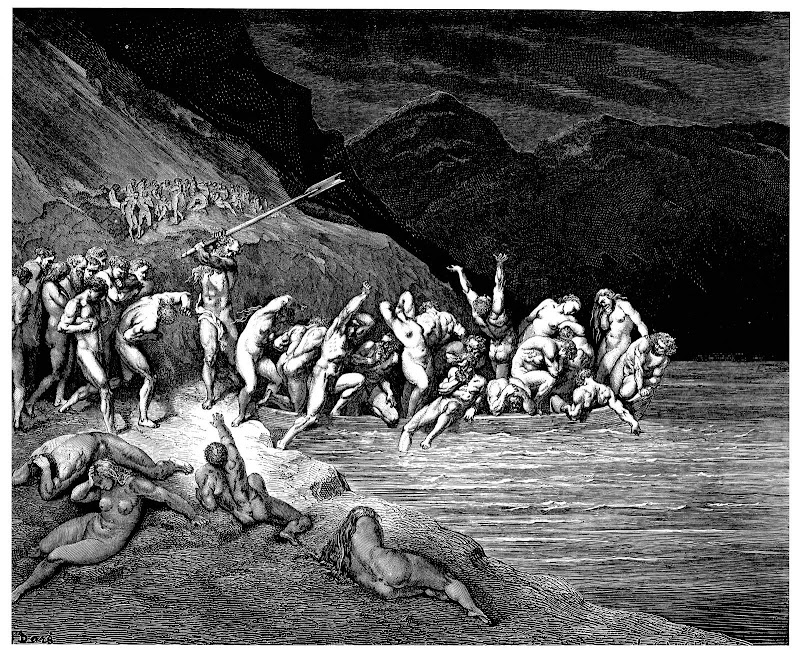 charon herds the sinners onto his boat ~ gustave doré
