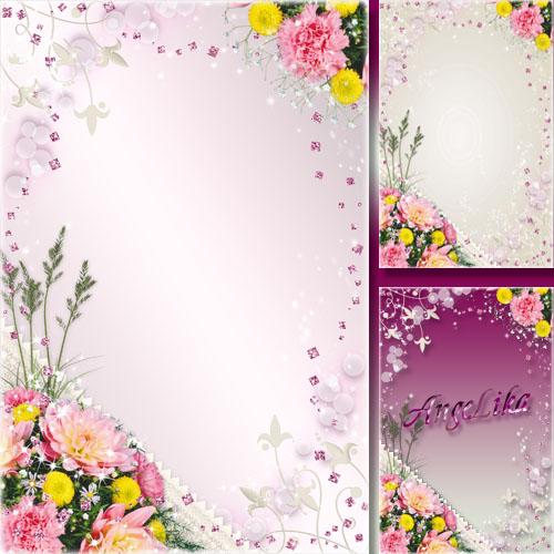 Рамка из россыпи камней - Букет цветов на нежном кружеве