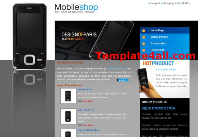 Free Mobiles Shop HTML Website Template