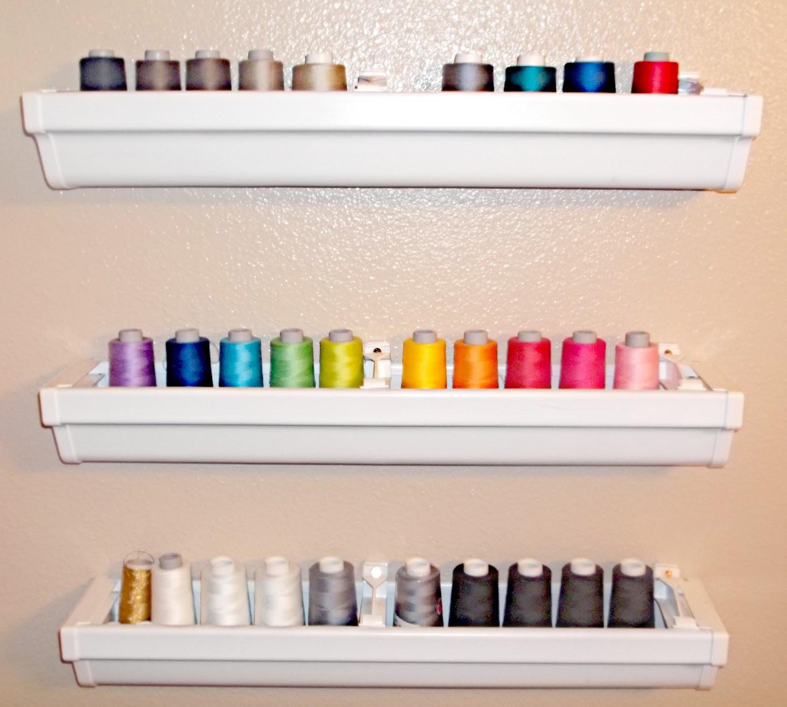 Lady Create-a-lot: Rain Gutter Shelves = THREAD Storage