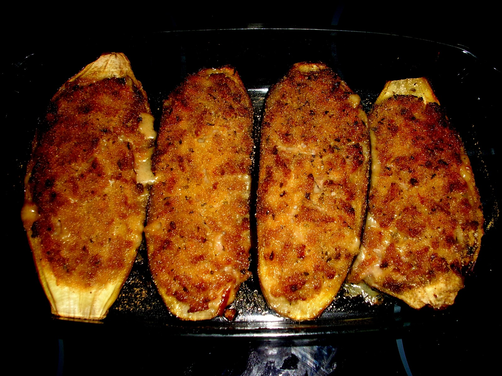 Cocina con fogones berenjenas rellenas de carne picada for Cocina berenjenas rellenas