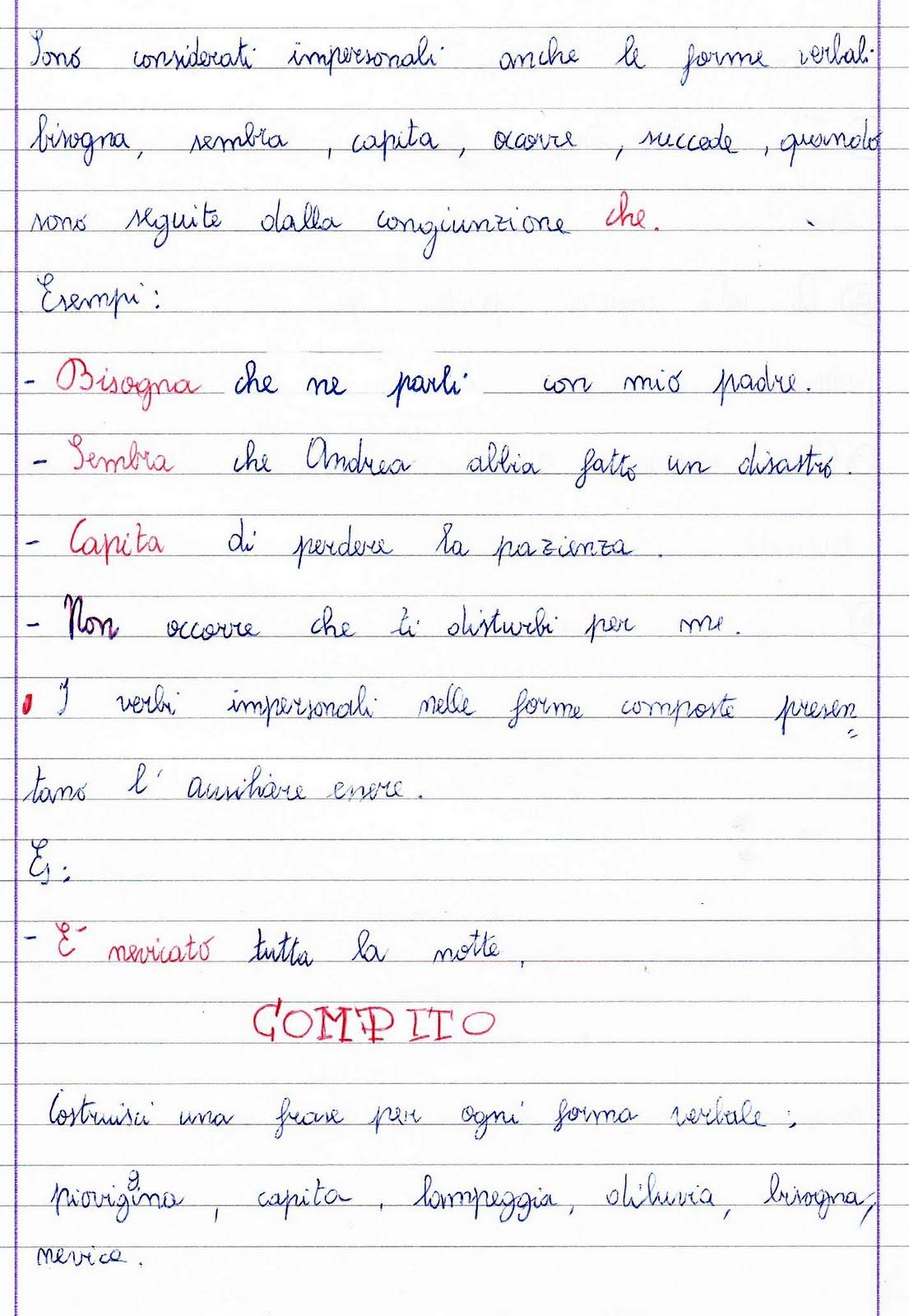 Top I verbi impersonali: unità didattica per la classe quinta della  RU09