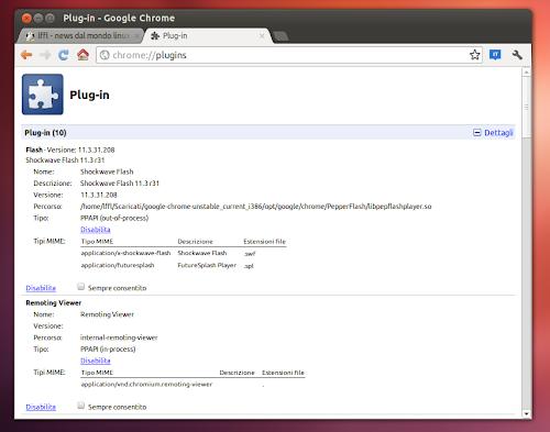 Google Chrome 21 Flash Player 11.3 Linux