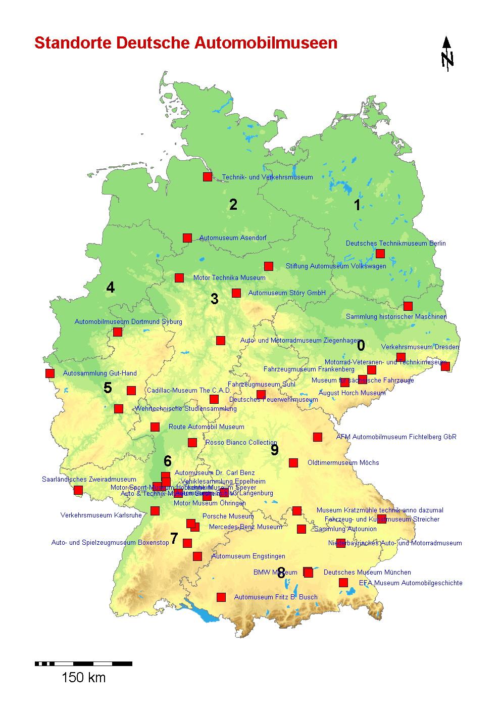 Landkartenblog: Deutschlandkarte: Automobilmuseum in Deutschland - Atomkraftwerke In Deutschland Karte