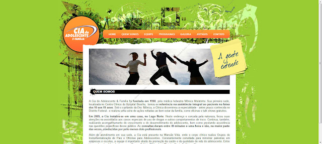 Tela do site Cia do Adolescente & Família