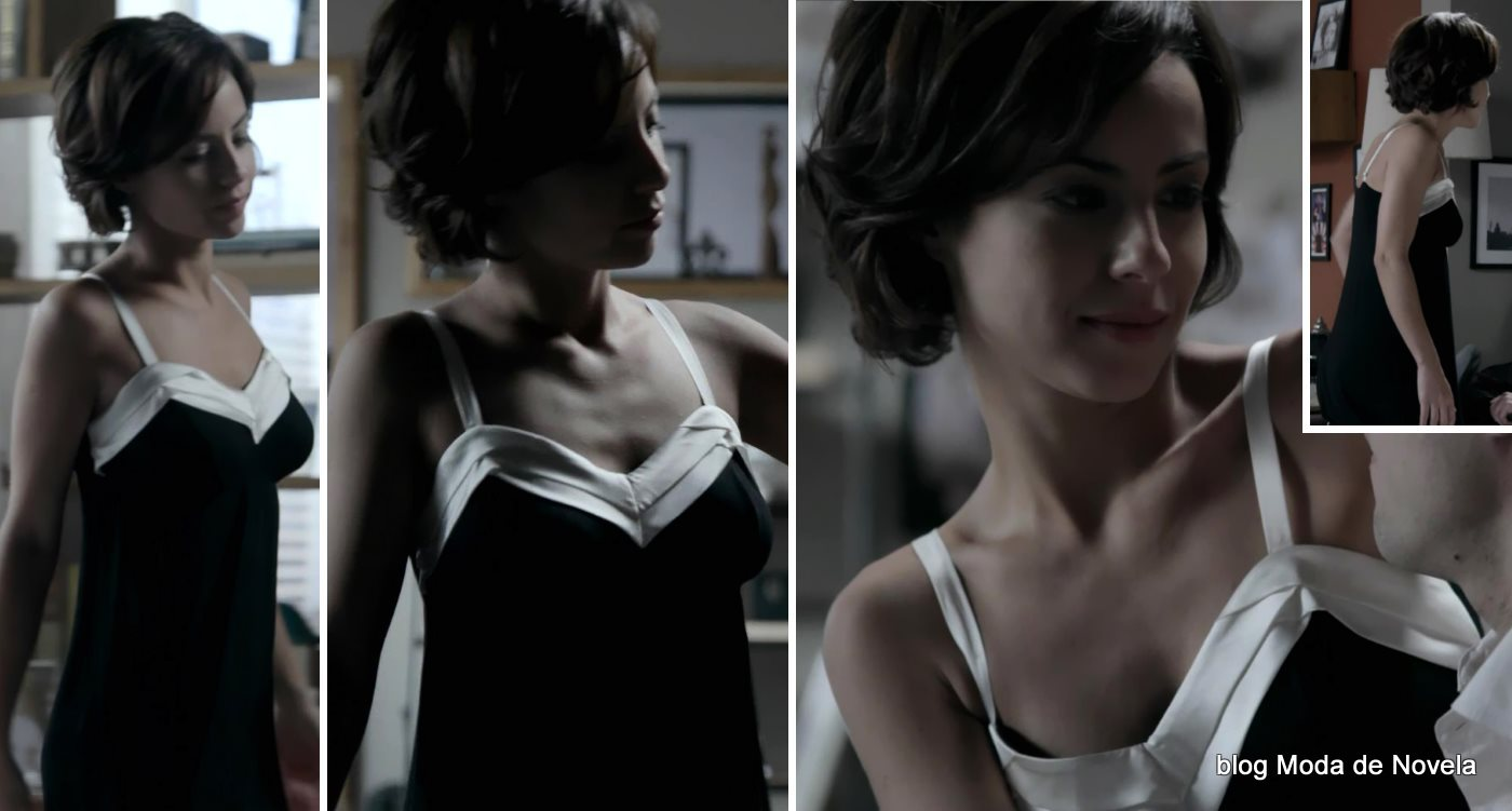 moda da novela Império - look da Maria Clara de camisola P&B dia 23 de setembro