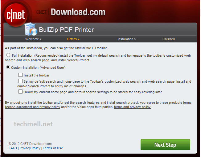 Custom Installation option for Bullzip PDF Printer in Win 8.1