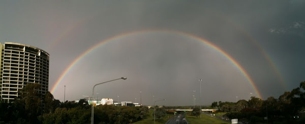 double rainbow over canberra