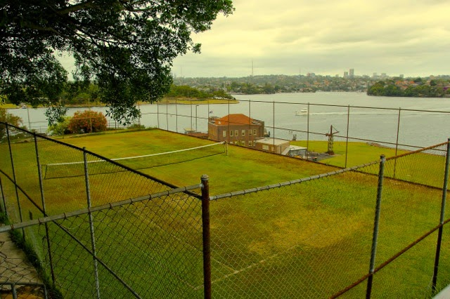 Tennis court for the toffs, Cockatoo Island, Sydney Harbour