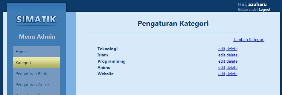 pengaturan kategori membuat website dengan menggunakan codeigniter