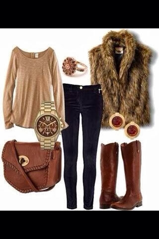 Brown blouse, black pants, adorable sleeveless jacket, brown long boots and brown handbag for fall