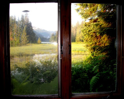 Great views from table in cabin.