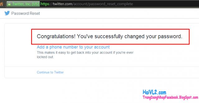 doi mat khau twitter thành công