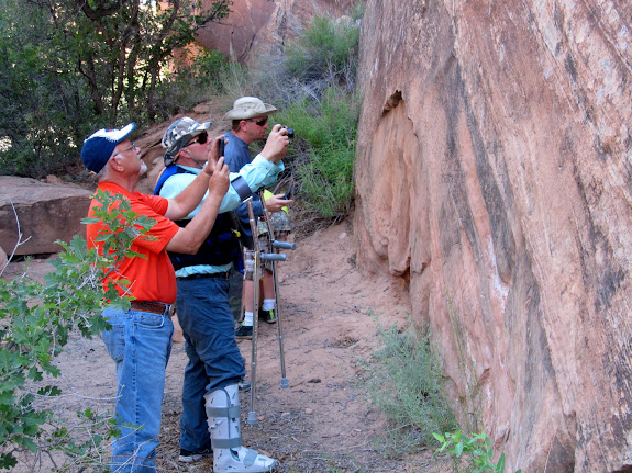 The group photographing inscriptions near Bull Hollow