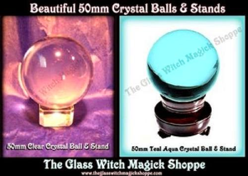 Wonderfully 50Mm Crystal Balls And Crystal Stands Colors Clear And Teal Aqua 11 00
