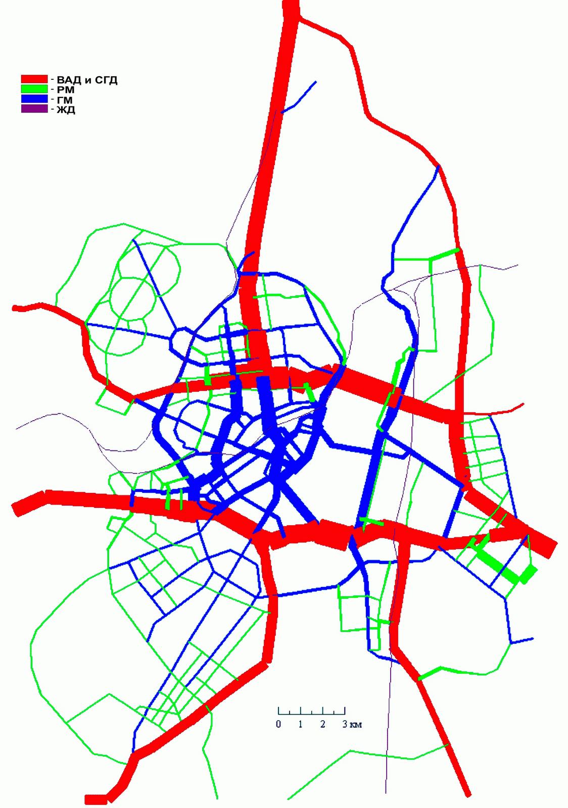 6. Вариант II. Схема МУДС совмещенная с картограммой автомобилепотоков по категориям магистральных улиц после строительства двух диаметров МНД