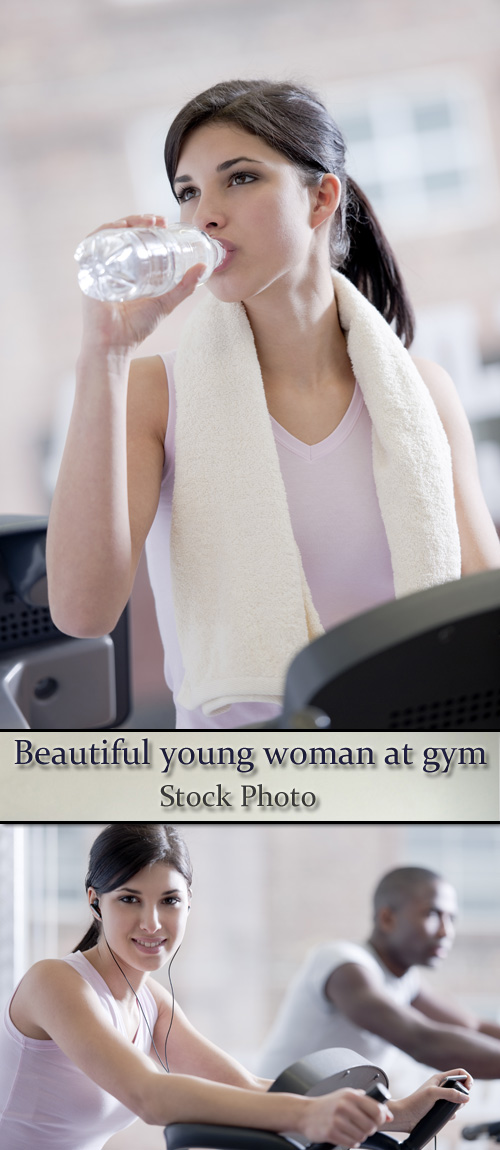 Stock Photo: Beautiful young woman at gym