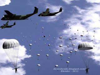 Aviões, vários paraquedas e nuvens