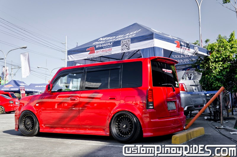 Red Toyota bB stanced on Black BBS RS Mesh Wheels Custom Pinoy Rides Car Photography Manila Philippines pic3