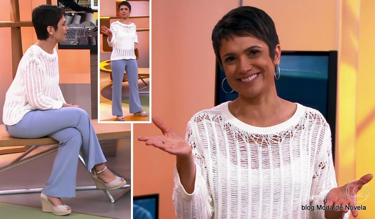 moda do programa Como Será? - look da Sandra Annenberg dia 23 de agosto