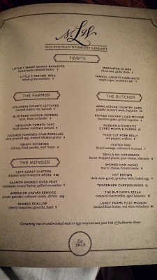 Multnomah Whiskey Library, menu of food ranges from small snacks at $3 to more substantial bites around the $6-15 range