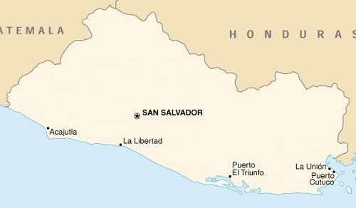 Mapa de El Salvador con sus puertos