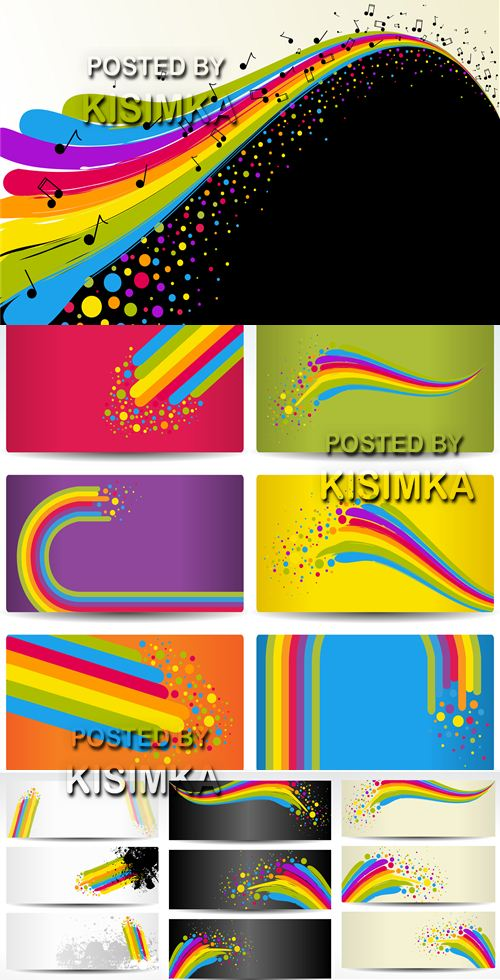 Stock: Cards with rainbow wave