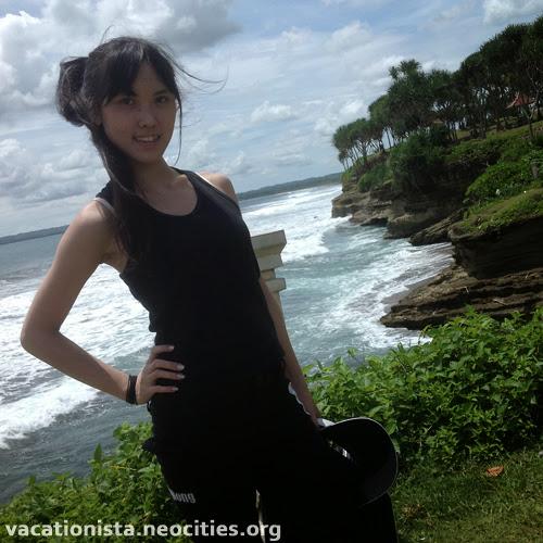 Alexia pose at Batu Hiu two