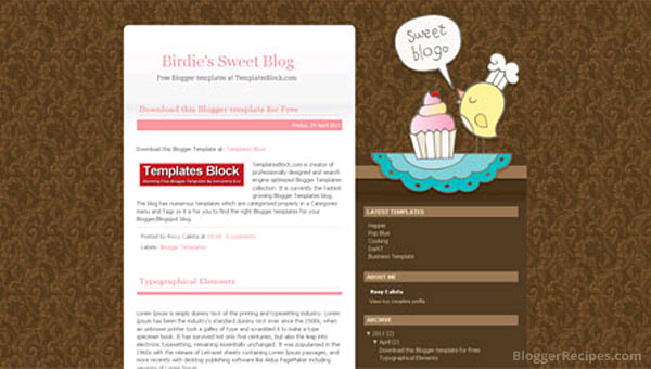 Sweet blog Blogger template